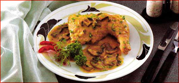 Receta de pollo con hongos